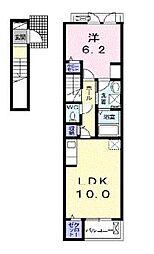 セレッソ花畑I 2階1LDKの間取り
