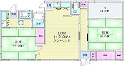 仙台市営南北線 北四番丁駅 徒歩15分の賃貸アパート 1階2LDKの間取り