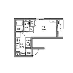 エブリネット新宿 4階1Kの間取り
