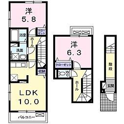 アヴニール 2階2LDKの間取り