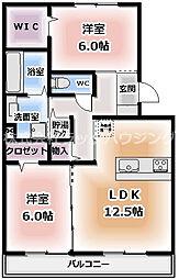 ラ ファミーユ 2階2LDKの間取り