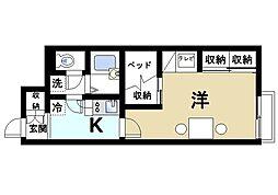 近鉄奈良線 大和西大寺駅 徒歩5分の賃貸アパート 1階1Kの間取り