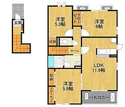 東野7丁目アパート[2階]の間取り