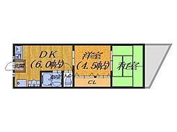 大阪府堺市堺区向陵中町4丁の賃貸マンションの間取り
