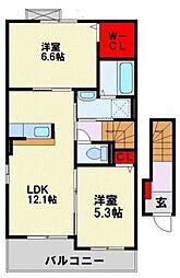 筑豊電気鉄道 新木屋瀬駅 徒歩21分の賃貸アパート 2階2LDKの間取り