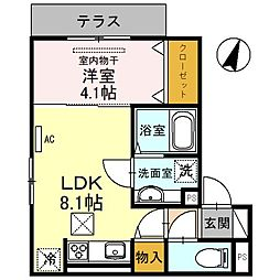 (仮称)D-room友田町 3階1LDKの間取り