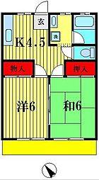 埼玉県越谷市蒲生本町の賃貸アパートの間取り