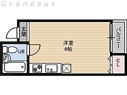 コンフォート今津 4階ワンルームの間取り