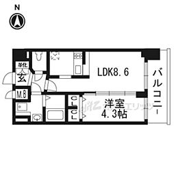 京都市営烏丸線 九条駅 徒歩5分の賃貸マンション 5階1DKの間取り
