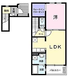 愛知県岡崎市上地6丁目の賃貸アパートの間取り