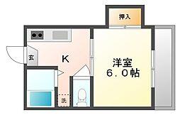 岡山県岡山市北区庭瀬の賃貸アパートの間取り