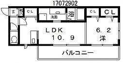 モメント ブリーシュフル[1階]の間取り