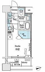 パークアクシス御茶ノ水ヒルトップ 13階ワンルームの間取り