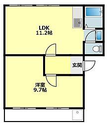 愛知県岡崎市日名中町の賃貸アパートの間取り