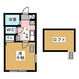 グランテラス横濱 2階1Kの間取り
