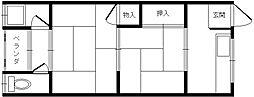 大阪府吹田市長野西の賃貸アパートの間取り