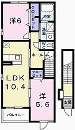 プラシードII 1階2LDKの間取り