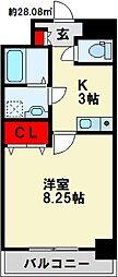 紺二ビル 3階1Kの間取り