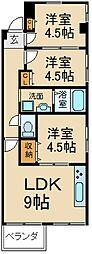 大阪府枚方市北中振4丁目の賃貸マンションの間取り