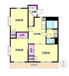 東京都八王子市川口町の賃貸マンションの間取り