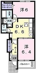 南海高野線 萩原天神駅 徒歩37分の賃貸アパート 1階2DKの間取り