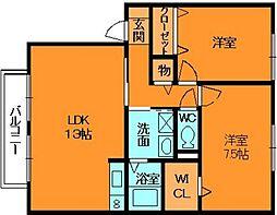 奈良県香芝市真美ヶ丘1丁目の賃貸アパートの間取り