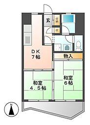 中駒九番団地8号棟[6階]の間取り
