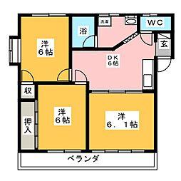 コーポめぐみII[1階]の間取り