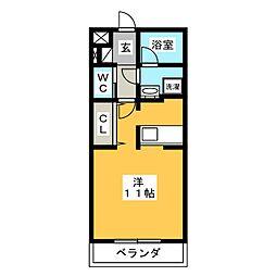 ジ・アパートメントIKEGAMI 2階ワンルームの間取り