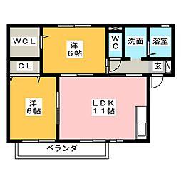 シエル高塚[1階]の間取り
