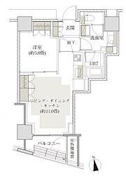 ザ・パークハウス西麻布レジデンス 5階1LDKの間取り
