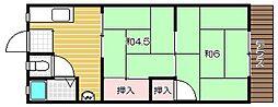 大阪府茨木市園田町の賃貸アパートの間取り