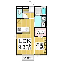メゾンエリート 2階1LDKの間取り