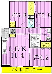 コンフォート新柏A・B[3階]の間取り