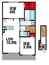 デステニー 2階2LDKの間取り
