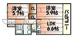 ニューシティアパートメンツ南小倉I[10階]の間取り