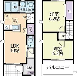 仮称)栃木県栃木市藤岡テラスハウス 2階2LDKの間取り