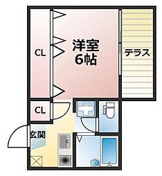 兵庫県神戸市灘区下河原通4丁目の賃貸アパートの間取り