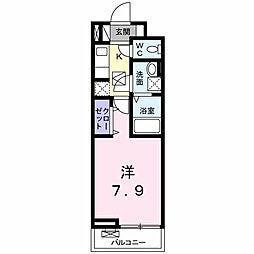 東中野アパート 1階1Kの間取り