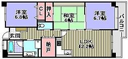 レジデンス岸和田[201号室]の間取り
