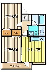 デュオブラウンA・B[2階]の間取り