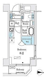 リビオメゾン両国イースト 2階ワンルームの間取り