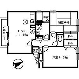 ファミール三軒屋A[1階]の間取り