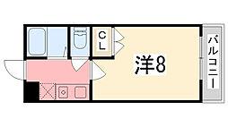 兵庫県姫路市飾磨区高町2丁目の賃貸マンションの間取り