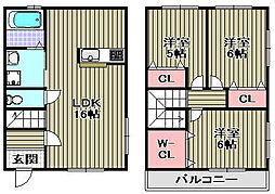 [タウンハウス] 大阪府泉佐野市葵町3丁目 の賃貸【/】の間取り