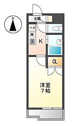 愛知県名古屋市天白区元植田2の賃貸アパートの間取り