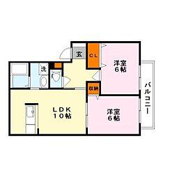 滋賀県栗東市坊袋の賃貸アパートの間取り