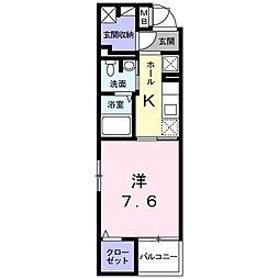 JR中央線 豊田駅 徒歩10分の賃貸マンション 1階1Kの間取り