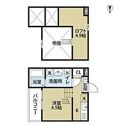 愛知県名古屋市中村区烏森町3丁目の賃貸アパートの間取り