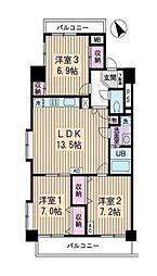 JR山手線 高田馬場駅 徒歩11分の賃貸マンション 6階3LDKの間取り